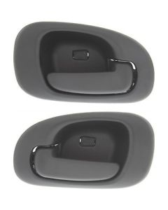 New Set of 2 Door Handles Rear Driver & Passenger Side Black Sedan LH RH Pair